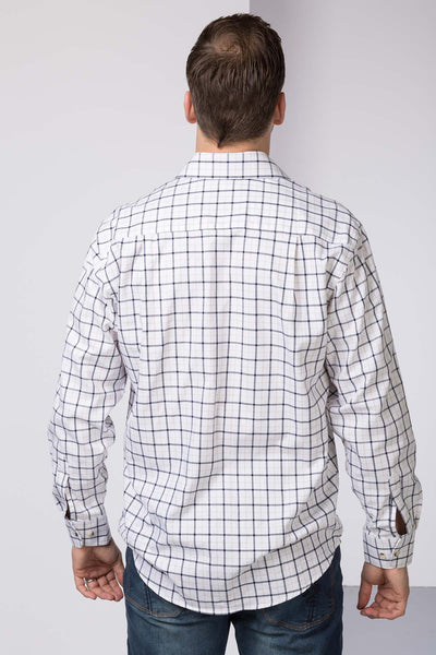 Market Light Brown - Mens 100% Cotton Check Shirt