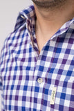 Otley Blue - Mens 100% Cotton Country Check Shirts