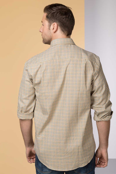 Poacher Beige - Mens 100% Cotton Long Sleeved Shirt