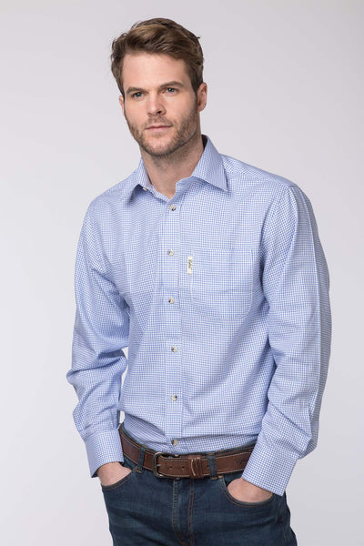 Wetherby Blue - Mens 100% Cotton Long Sleeved Shirts