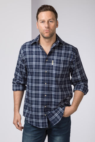 Wetwang Navy - Mens 100% Cotton Long Sleeved Shirt