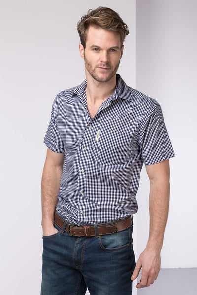 Millington Blue - Polycotton Short Sleeved Shirt