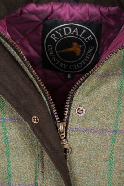 Purple/Green - Tweed Belted Coat