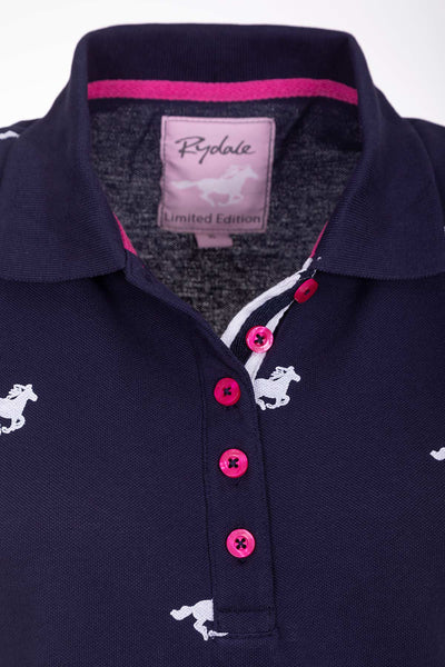 Galloping Horse Navy - Sleeveless Polo Shirt
