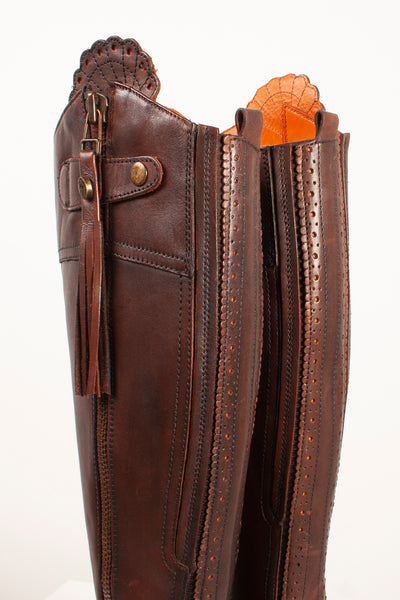 Brown - Leather Riding Boots