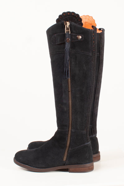 Navy - Regular Fit Suede Riding Boots