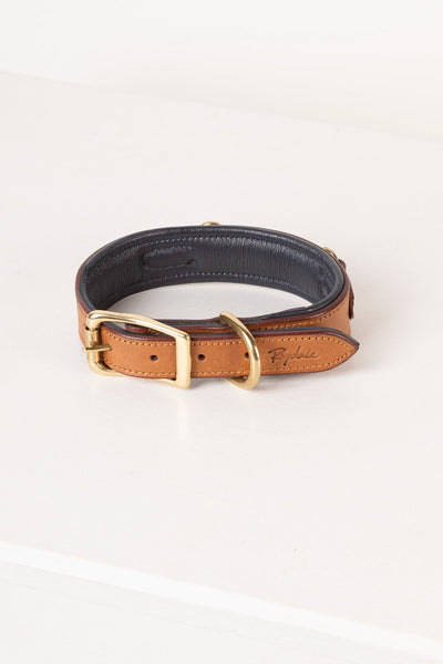 Tan - Snaffle Leather Dog Collar