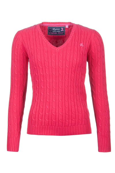 Strawberry - V Neck Cable Knit Sweater