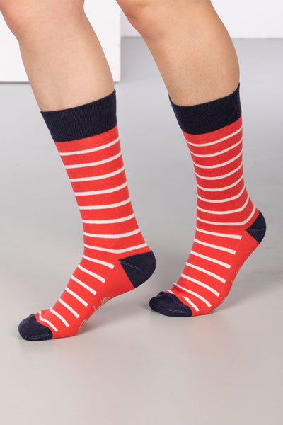 Cherry - Striped Ankle Socks
