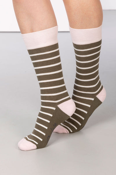 Khaki - Striped Ankle Socks