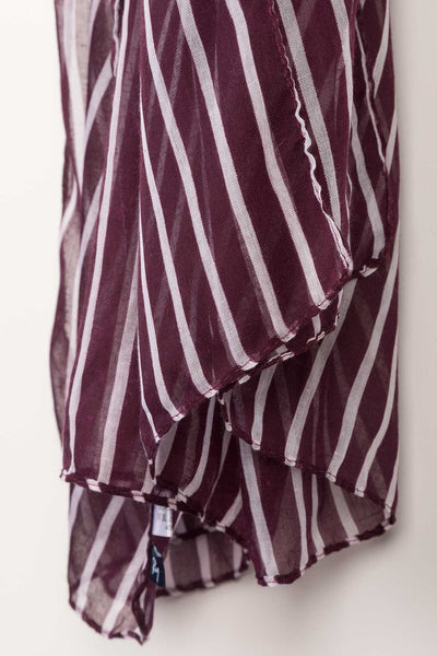Berry - Ladies Striped Floaty Scarf