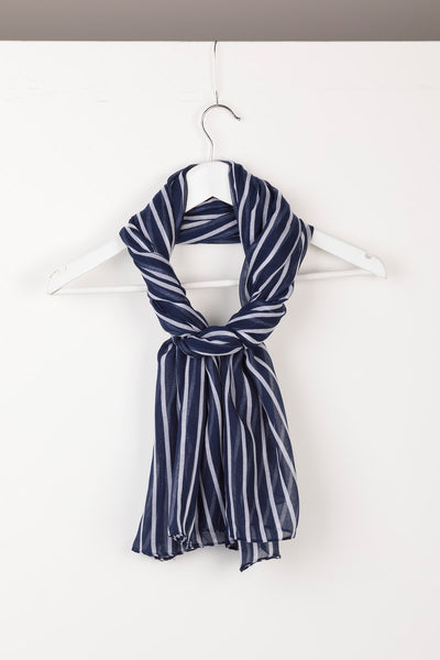 Navy - Ladies Striped Floaty Scarf