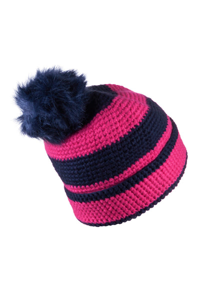 Bonbon/Navy - Striped Pom Pom Hat