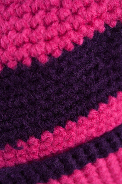 Bonbon/Purple - Striped Pom Pom Hat