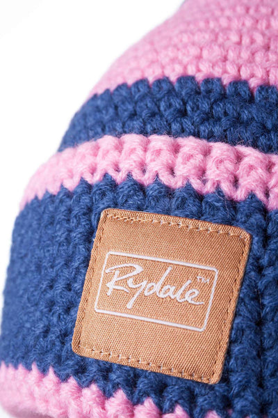 Jblue/Pink - Striped Pom Pom Hat