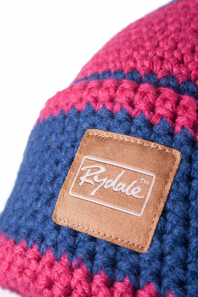 Jblue/Raspberry - Striped Pom Pom Hat