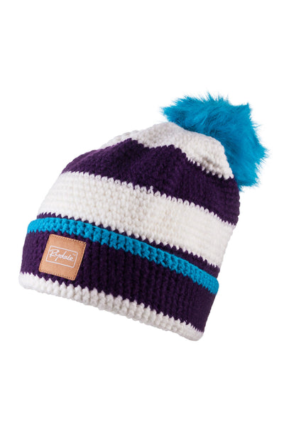 Purple/Vanilla - Striped Pom Pom Hat
