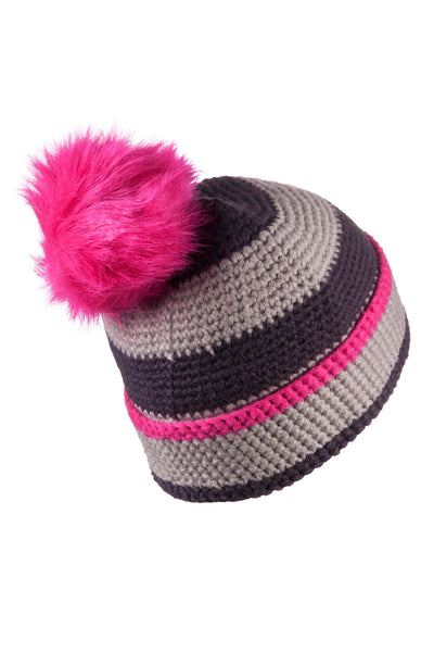 Silver/Dark Charcoal - Striped Pom Pom Hat