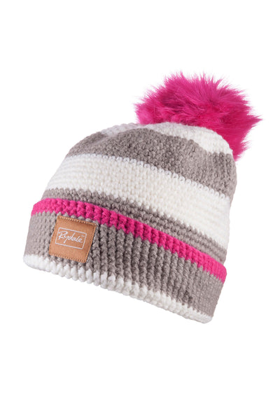 Silver/Vanilla - Striped Pom Pom Hat