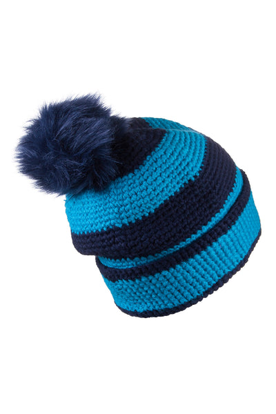 Sky/Navy - Striped Pom Pom Hat