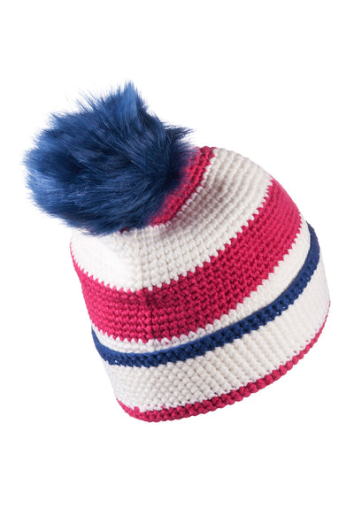 Vanilla/Raspberry - Striped Pom Pom Hat
