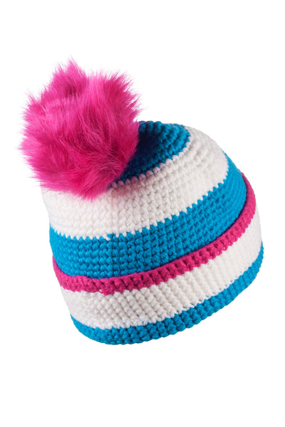 Vanilla/Sky - Striped Pom Pom Hat