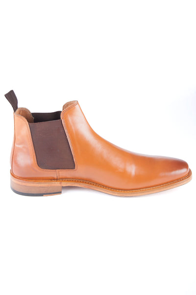 Tan - Mens Leather Chelsea Style Country Boots