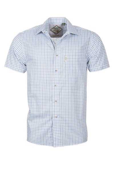 Tattersall Blue - Mens Easy Care Short Sleeved Shirt
