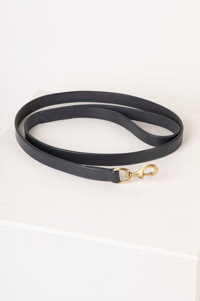 Navy - Thick Dog Lead - Leather