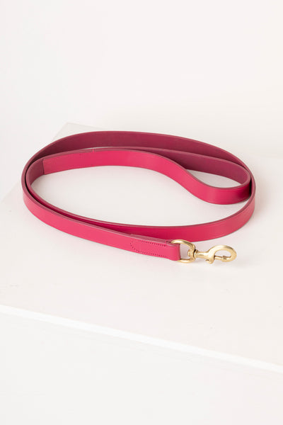 Pink - Thick Dog Lead - Leather