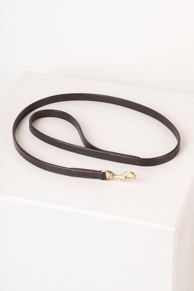 Brown - Thin Dog Lead - Leather