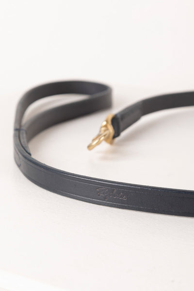 Navy - Thin Dog Lead - Leather