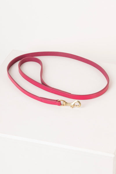 Pink - Thin Dog Lead - Leather