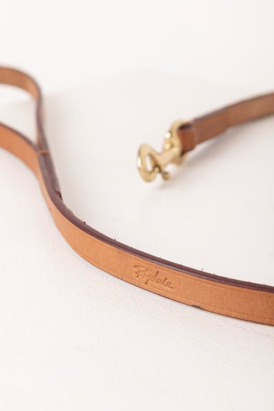 Tan - Thin Dog Lead - Leather