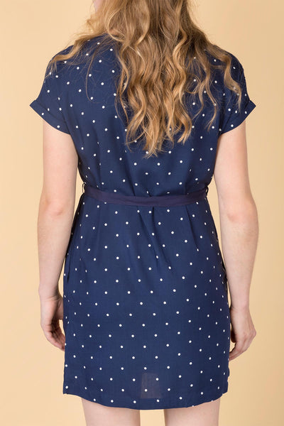 Spotty Navy - Ladies Jasmine Tie Dress
