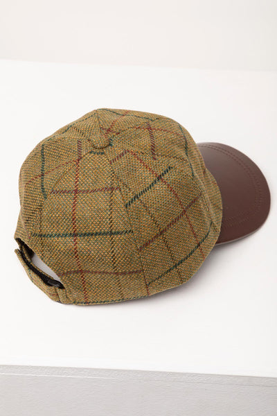 Beige - Mens Country Tweed Baseball Cap with Leather Peak