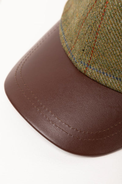 Forest - Mens Country Tweed Baseball Cap with Leather Peak