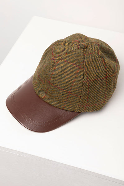 Red - Mens Country Tweed Baseball Cap with Leather Peak