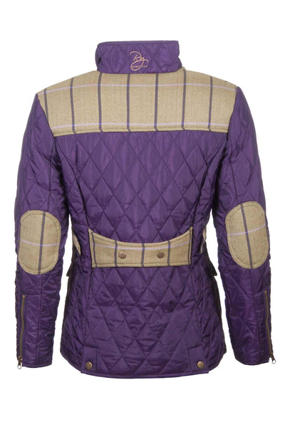 Dark Purple - Ladies Soft Quilted Jacket With Tweed Trim