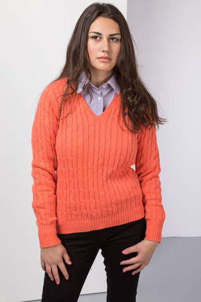 Clementine - 2017 V Neck Cable Knit Sweater