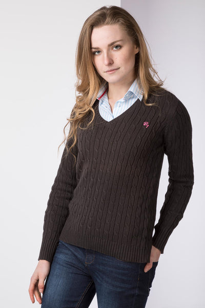 new products for pretty cool best choice Ladies Cable Knit V Neck Jumper