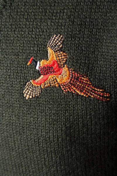 Olive -Junior Pheasant Motif V Neck Knitted Jumper