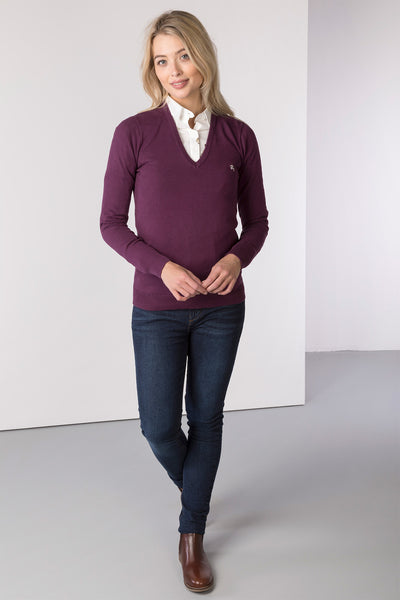 Berry - Ladies V Neck Fine Knit Sweater