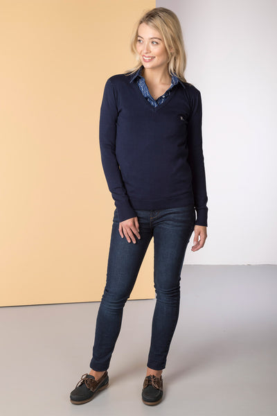 Navy - Ladies V Neck Fine Knit Sweater