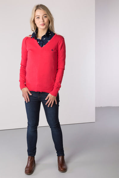 Rose - Ladies V Neck Fine Knit Sweater
