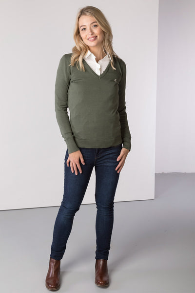 Sage - Ladies V Neck Fine Knit Sweater