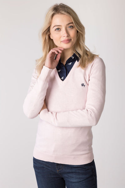Sorbet - Ladies V Neck Fine Knit Sweater