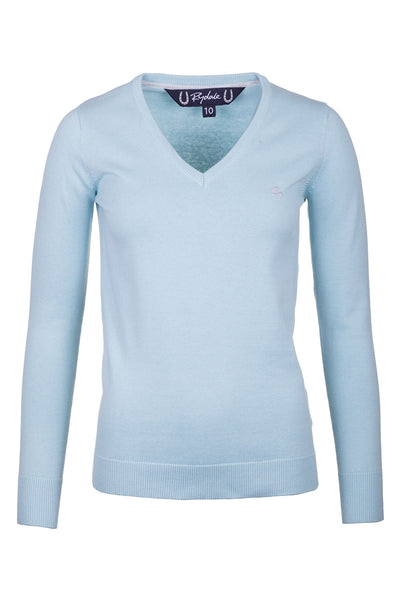 Seafoam - Ladies V Neck Fine Knit Sweater