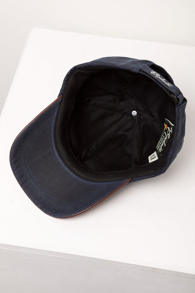 Navy - Mens 100% Waxed Cotton Country Baseball Cap with Leather Peak