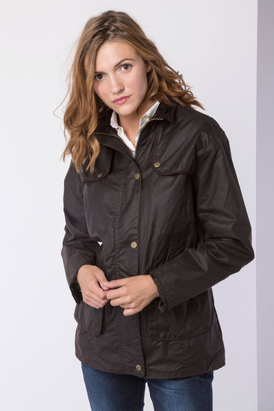Brown - ladies waxed showerproof jacket elasticated back
